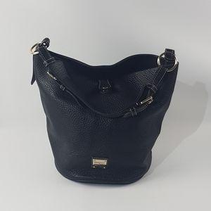 Dooney and bourke black leather bucket purse